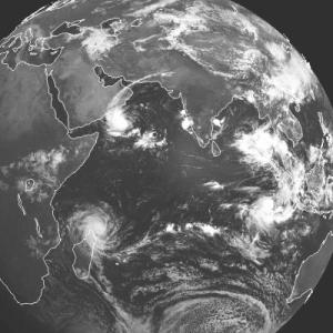 Meteosat-5 visible image showing two sets of TC 'twins' - 5/9/02